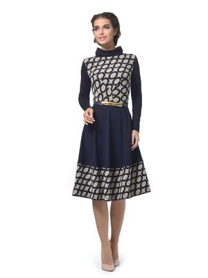 Платье синее в геометрический принт   5621217