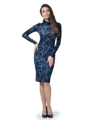 Платье синее в цветочный принт | 5621485