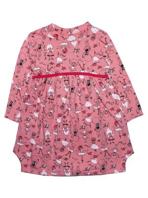 Сукня рожева в принт | 5625427