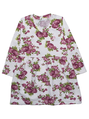 Платье белое в принт | 5625437