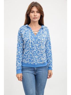 Свитшот голубого цвета в цветочный принт | 5299429