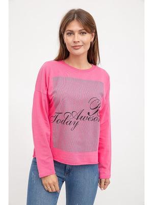 Свитшот розовый в принт | 5299446