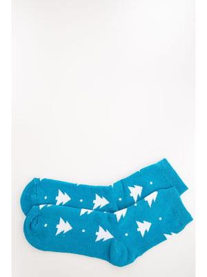 Шкарпетки блакитного кольору в принт | 5569023
