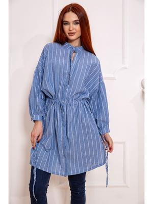 Рубашка-туника джинсового цвета в полоску | 5624904