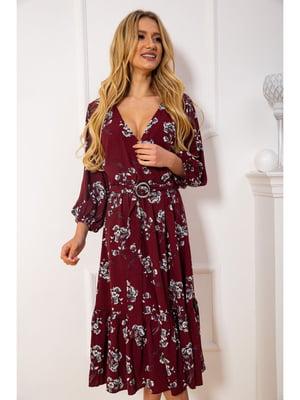 Платье бордовое в цветочный принт | 5625090