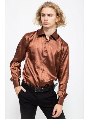 Рубашка коричневая в принт | 5625102