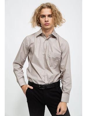 Сорочка сталевого кольору в смужку | 5625117