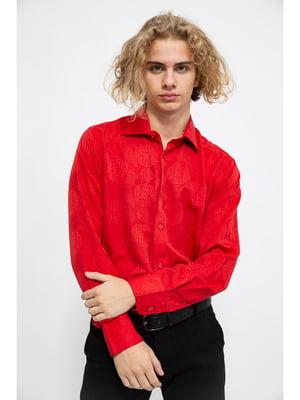 Рубашка красного цвета в принт | 5625125