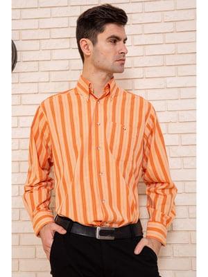 Сорочка цегляного кольору в смужку | 5625132