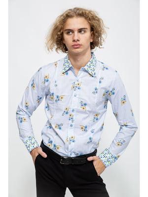 Сорочка блакитного кольору в квітковий принт | 5625142