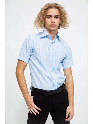 Сорочка блакитного кольору в смужку | 5625153