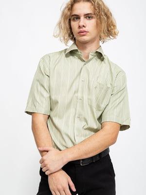 Сорочка кольору хакі в смужку | 5625160