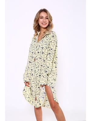 Рубашка-туника лимонного цвета в принт | 5625167