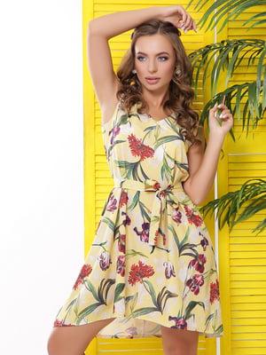 Сукня жовта з квітковим принтом  | 5625563