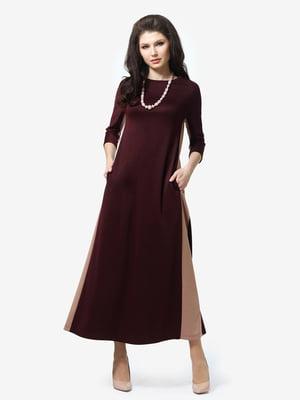 Платье бордово-бежевое | 5626185