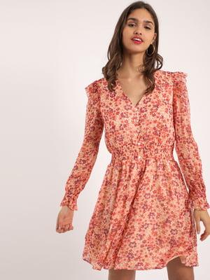 Сукня рожева в принт | 5473171