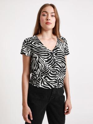 Блуза чорно-біла в принт   5625901