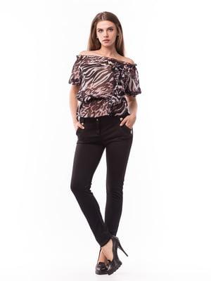 Блуза двухцветная в принт | 5627582