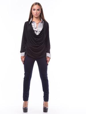 Блуза черного цвета с вставками | 5627588
