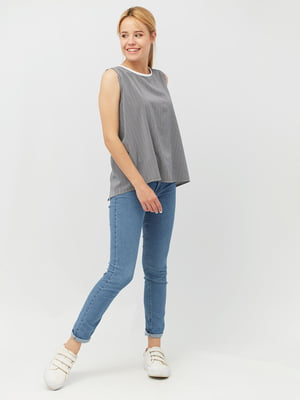 Блуза синяя в полоску | 5627811