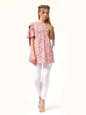 Туника  розовая с цветочным принтом | 5625981