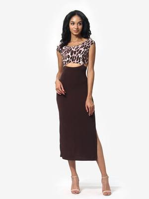 Сукня коричнева з анімалістичним принтом | 5626350