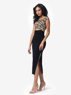 Сукня чорна з анімалістичним принтом | 5626353