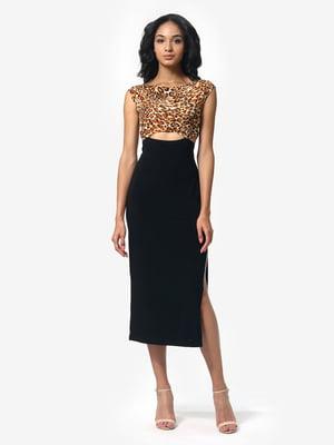 Сукня чорна з анімалістичним принтом | 5626354