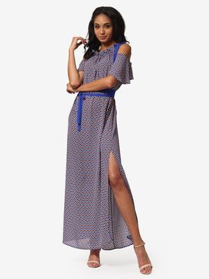 Сукня синя з принтом | 5626360