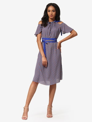 Сукня синя з принтом | 5626361
