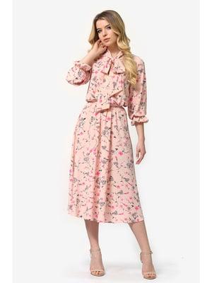Сукня кольору пудри з квітковим принтом | 5626484