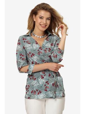 Блуза м'ятного кольору з квітковим принтом | 5626491