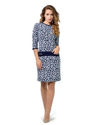 Сукня темно-синя з принтом   5626833