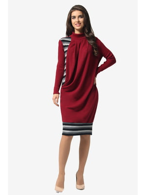 Платье винного цвета в полоску | 5626911