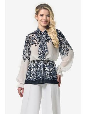 Блуза молочно-синя з принтом | 5626925