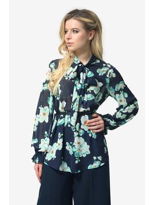 Блуза темно-синя з квітковим принтом | 5626929