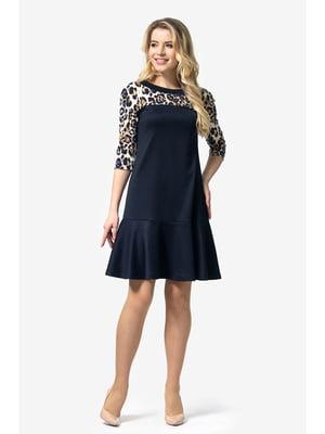 Сукня темно-синя з анімалістичним принтом   5626940