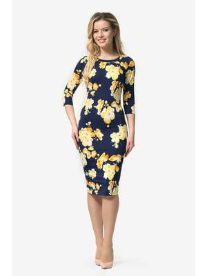 Сукня темно-синя з квітковим принтом | 5626941