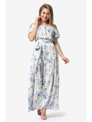 Сукня біла з квітковим принтом | 5626963