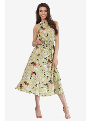 Сарафан оливкового кольору з квітковим принтом | 5626978