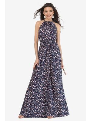 Сарафан темно-синій з квітковим принтом | 5626981