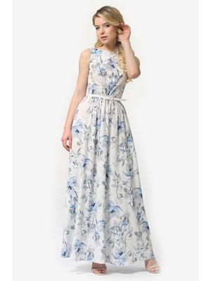 Сукня біла з квітковим принтом | 5626989