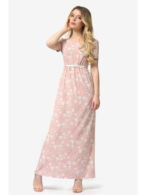 Платье цвета пудры с цветочным принтом   5626990