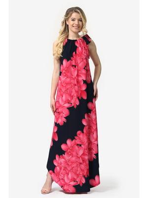 Сукня темно-синя з квітковим принтом | 5626993