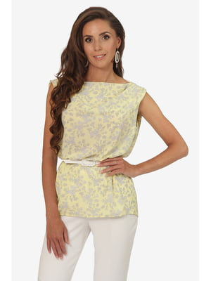 Блуза біла з квітковим принтом | 5627000