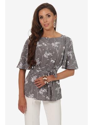 Блуза сіра з квітковим принтом | 5627003