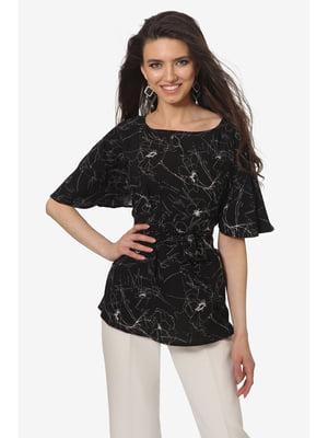 Блуза чорна з квітковим принтом | 5627004