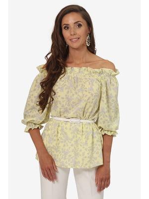 Блуза желтая с цветочным принтом   5627014