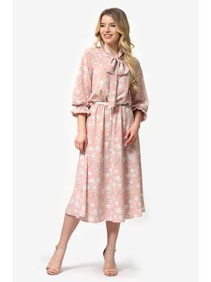 Платье цвета пудры с цветочным принтом   5627020