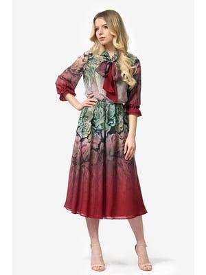 Платье бордовое с цветочным принтом | 5627024
